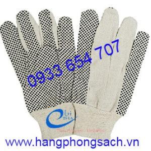 Găng tay vải bạt phủ hạt nhựa